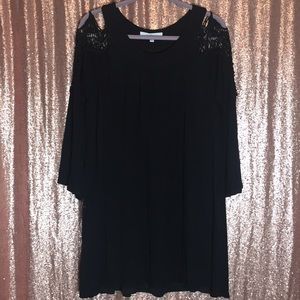 Fever Black Tunic Lace Shoulder peekaboo Dress L